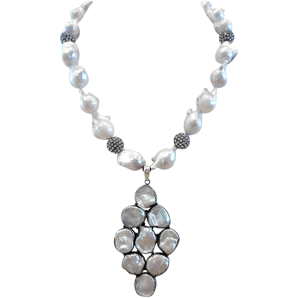 Special Baroque Pearl Necklace with Blackened Silver Beads
