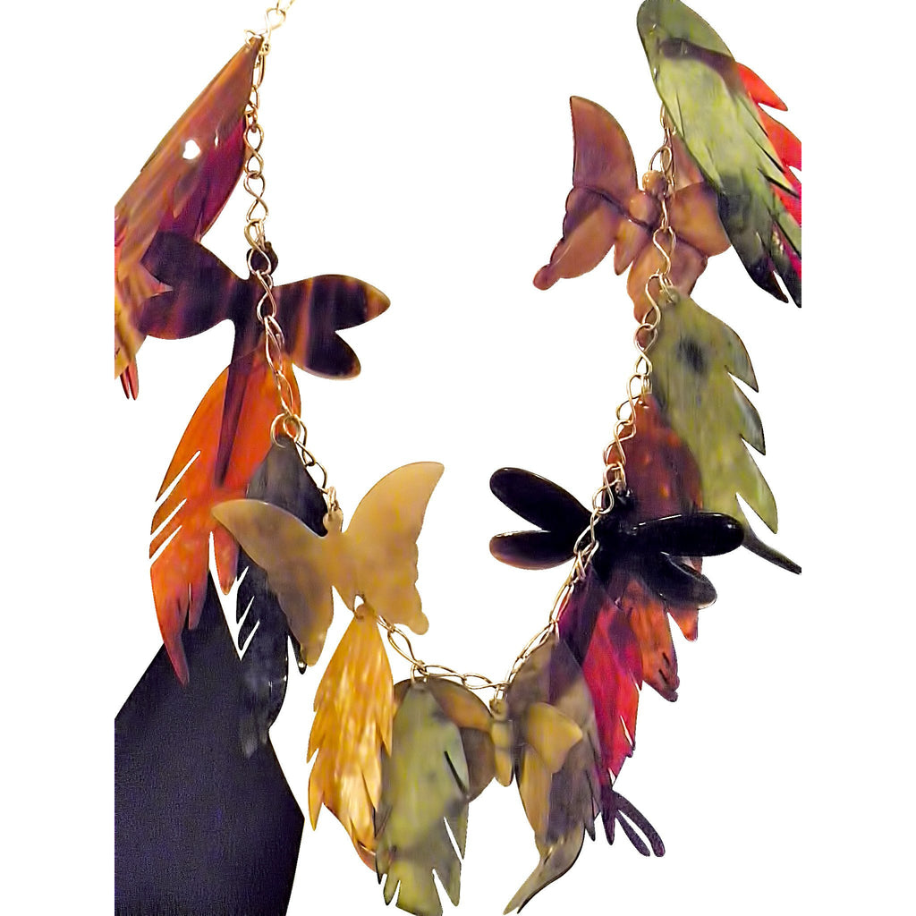Whimsical Butterflies and Leaves Buffalo Horn Charm Necklace