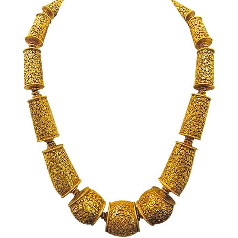 Golden Barrel Scroll Beads Necklace