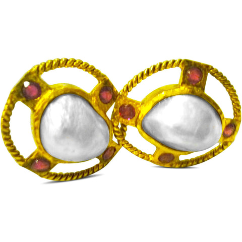 Timeless Mabe Blister Pearl Earrings with Rubies