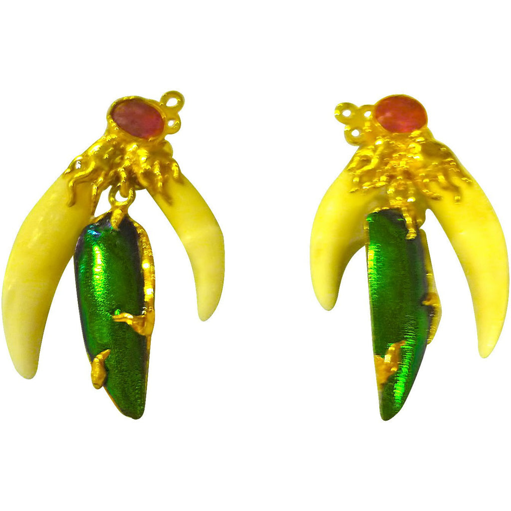 Emerald Green Beetle Wing and Bone Earrings