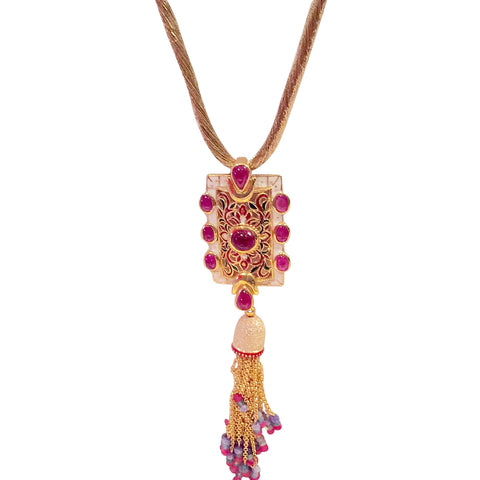Ruby and Enamelwork Pendant