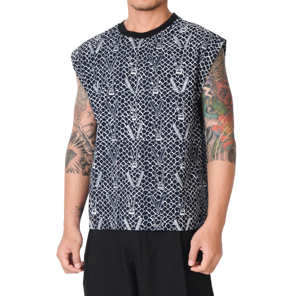Men Tattoo Sleeveless Top : Gringsing