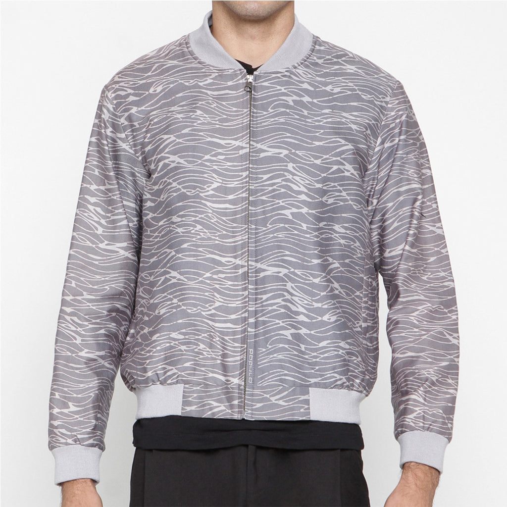 MEN BOMBER JACKET: GRINGSING WAVE