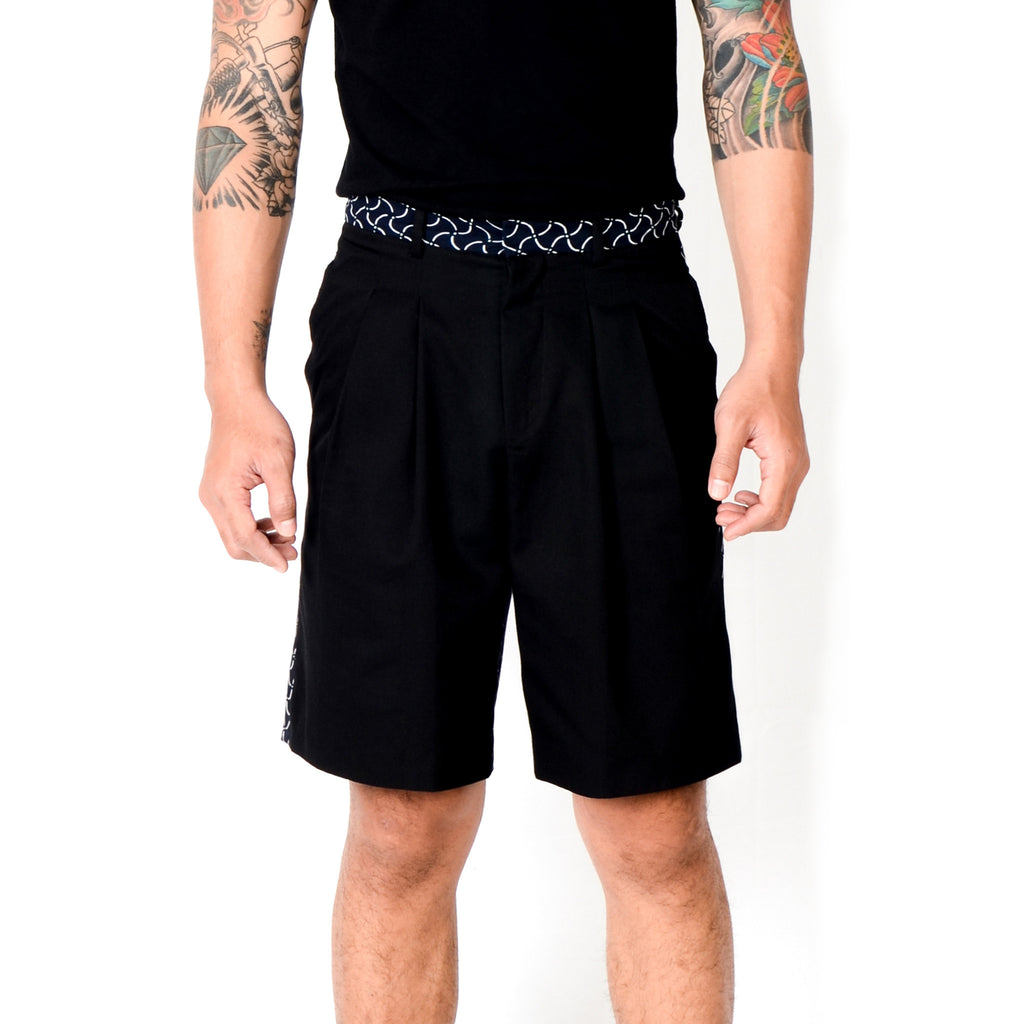 Men Pleats Short Pants: Rectangular