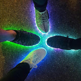 "Kids White Low Top ""Squads"" Neon Shoes LED Sneaker"