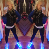 "Womens White Low ""Squads"" Neon Shoes LED Sneaker"