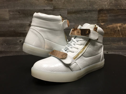 "White Low-Top ""Gold Shields"""