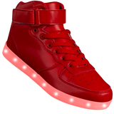 "Womens Red Hi-Top ""Squads"" Neon Shoes LED Sneaker"