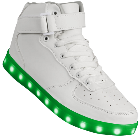 "Mens White Hi-Top ""Squads"" Neon Shoes LED Sneaker"