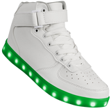 "Womens White Hi-Top ""Squads"" Neon Shoes LED Sneaker"