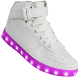 "Kids White Hi-Top ""Squads"" Neon Shoes LED Sneaker"