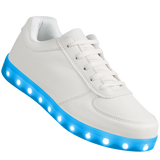 "Mens White Low Top ""Squads"" Neon Shoes LED Sneaker"