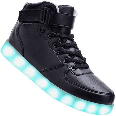 "Kids Black Hi-Top ""Squads"" Neon Shoes LED Sneaker"
