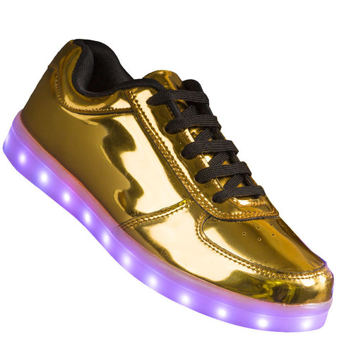 "Womens Gold Low Top ""The President"" Neon Shoes LED Sneaker"