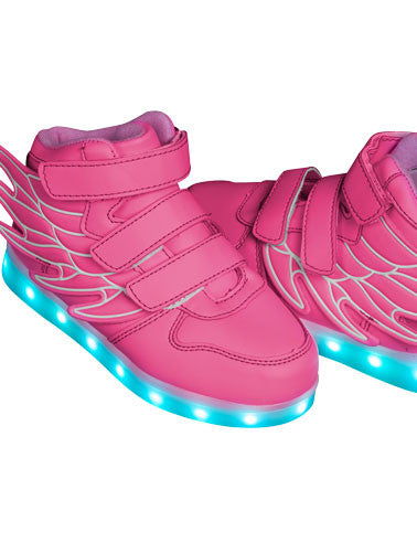 Kids Pink Hi-Tops: Bangerang Neon Shoes LED Sneaker
