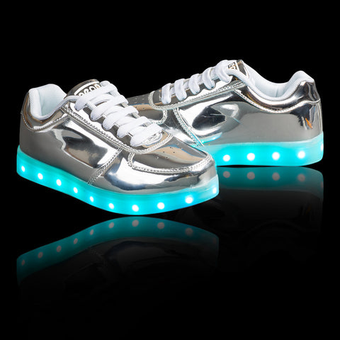 "Kids Chrome Low Top ""The Boss"" Neon Shoes LED Sneaker"