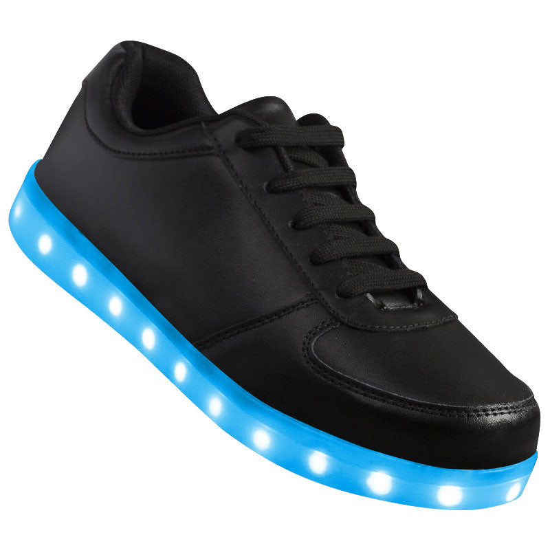 "Kids Black Low Top ""Squads"" Neon Shoes LED Sneaker"