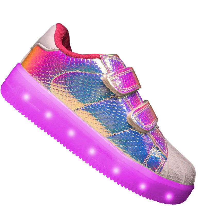 "Kids Pink ""Prism"" Neon Shoes LED Sneaker"