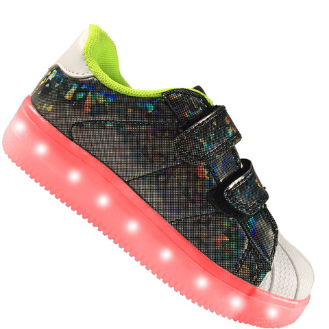 "Kids Black ""Prism"" Neon Shoes LED Sneaker"
