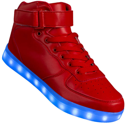 "Mens Red Hi-Top ""Squads"" Neon Shoes LED Sneaker"