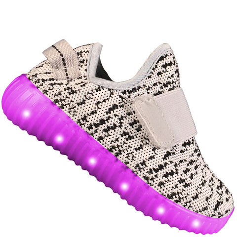"Kids Velcro Light ""PLUR"" Neon Shoes LED Sneaker"