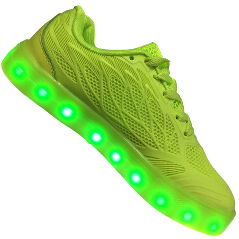 "Kids Green ""Wax"" Neon Shoes LED Sneaker"