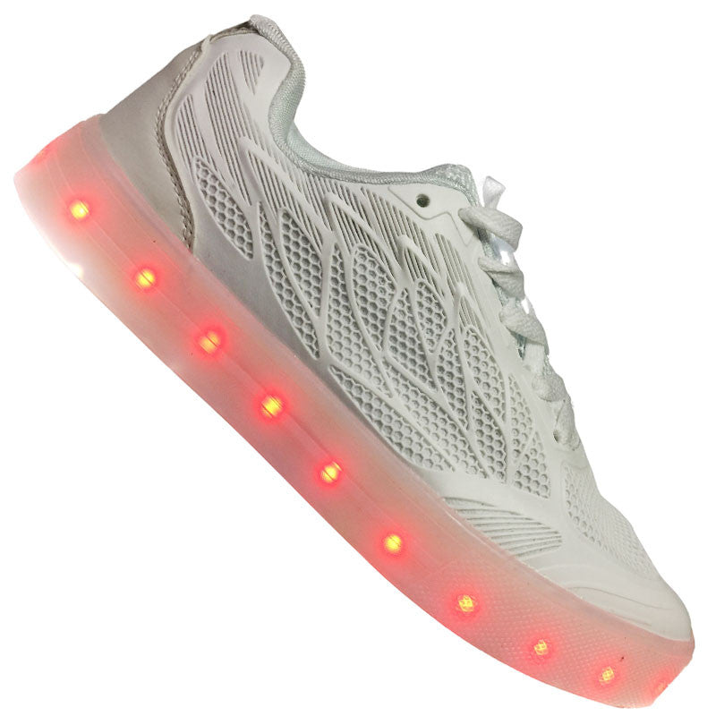 "Women's White ""Wax"" Neon Shoes LED Sneaker"