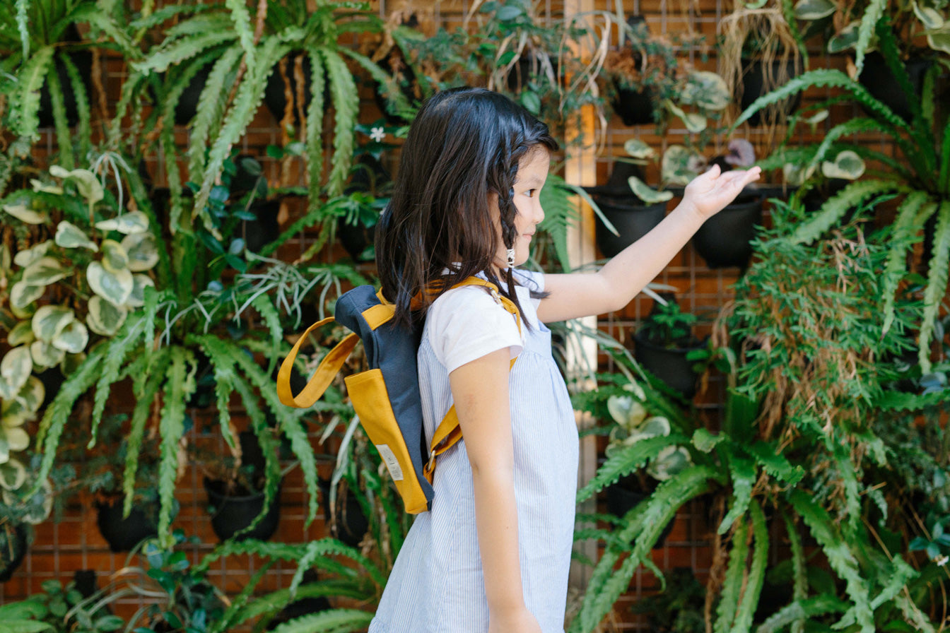 COTTON BAG: Traveller MINI Backpack - Navy & Mustard