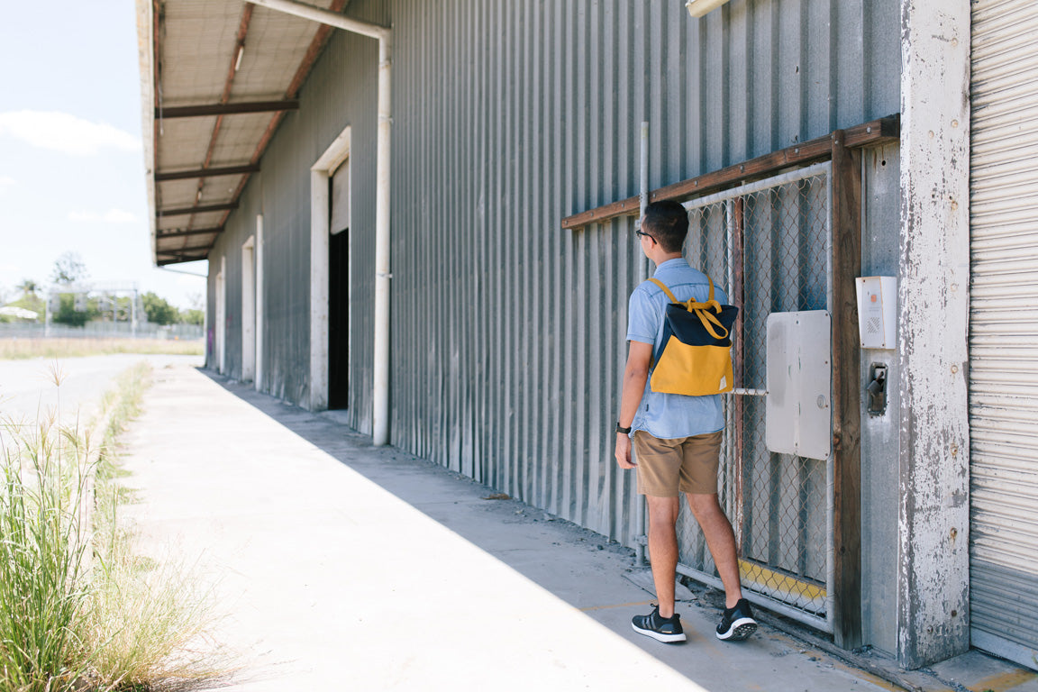 COTTON BAG: Traveller Basic Backpack - Mustard & Navy