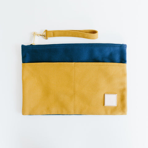 Basic Traveller Clutch - Mustard & Navy