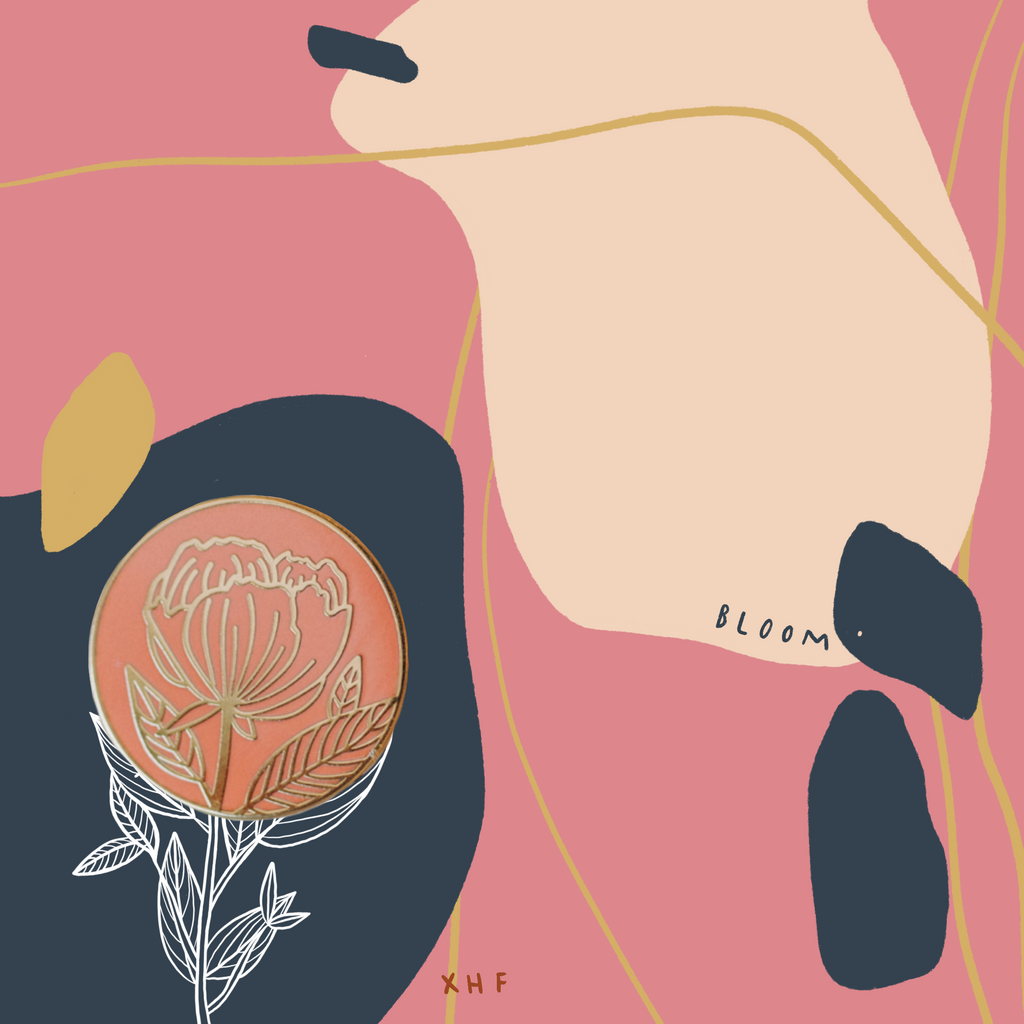 BLOOM; ITS YOUR TIME PEONY ENAMEL PIN