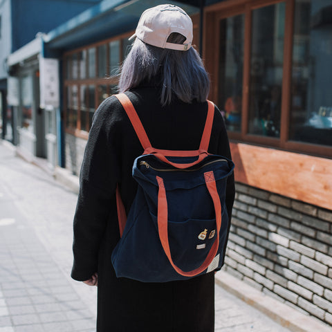 COTTON BAG: TRAVELLER BASIC BACKPACK - NAVY & BURNT ORANGE