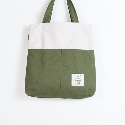 COTTON BAG: Traveller MINI Backpack - Oatmeal & Olive
