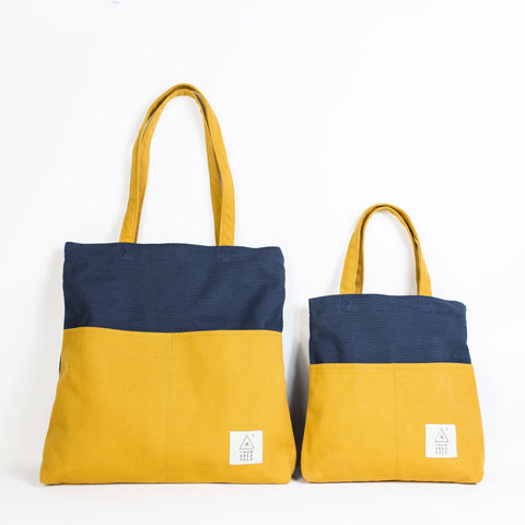 COTTON BAG: Traveller Basic + MINI Backpack - Mustard & Navy