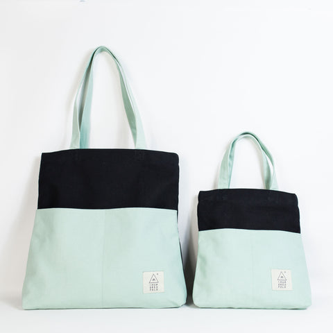 COTTON BAG: Traveller Basic + MINI Backpack - Mint & Black