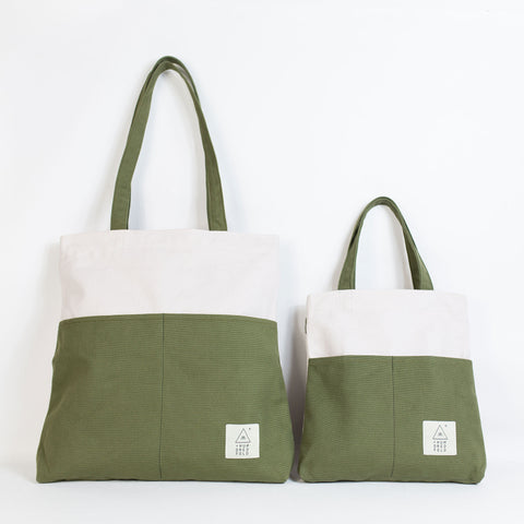 COTTON BAG: Traveller Basic + MINI Backpack - Oatmeal & Olive
