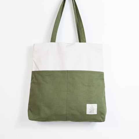 COTTON BAG: Traveller Basic Backpack - Oatmeal & Olive
