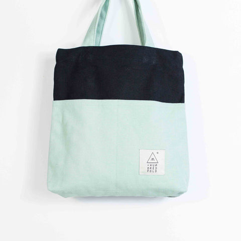 COTTON BAG: Traveller MINI Backpack - Black & Mint