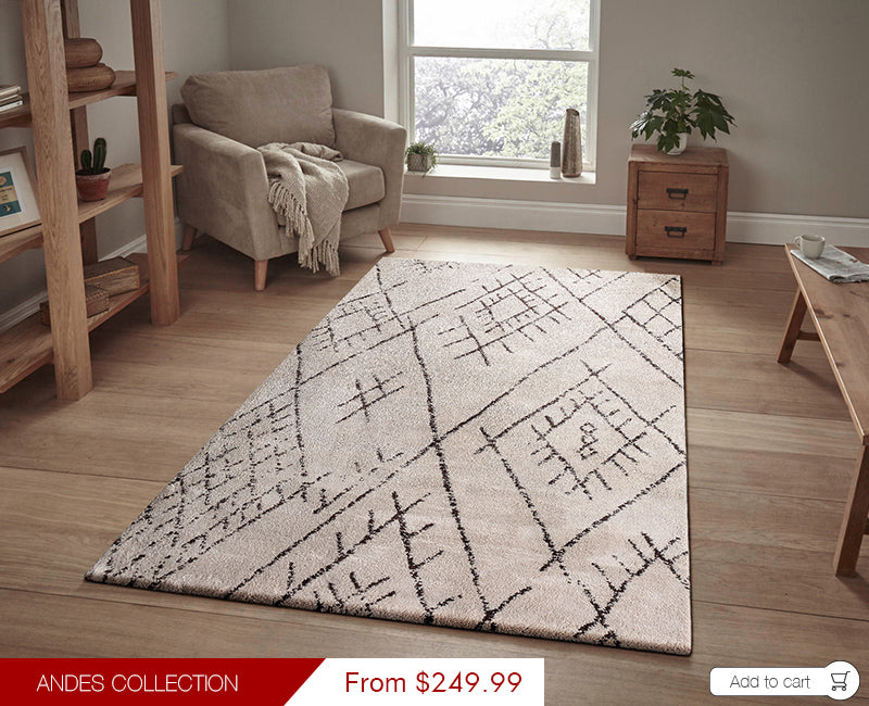Modern Weave Andes Collection Super Soft Microfiber Morrocan Floor Rug AND03