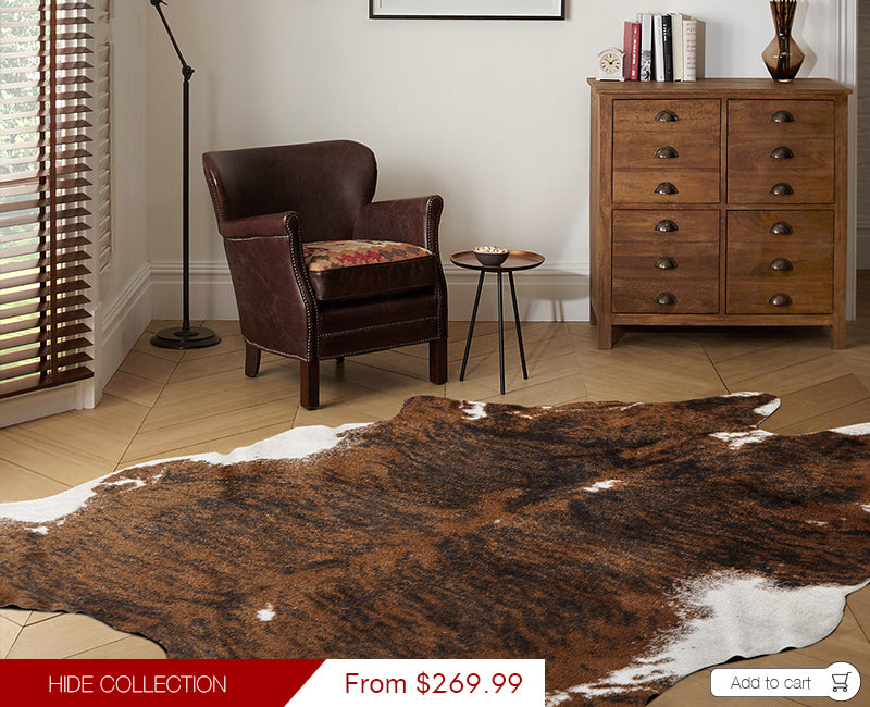 Modern Weave Hides Collection Modern Faux Cow Hide Rug Brown HID01 152x198cm