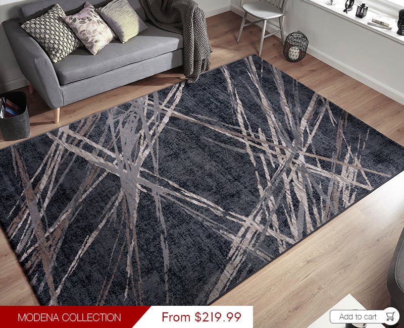 Modena Collection Modern Floor Rugs Black MOD04