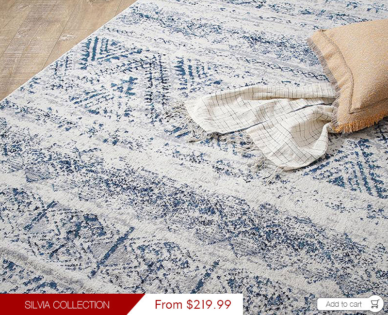 Modern Weave Silvia Collection Modern Vintage Floor Rug Chevron Blue Ivory Beige SIL05