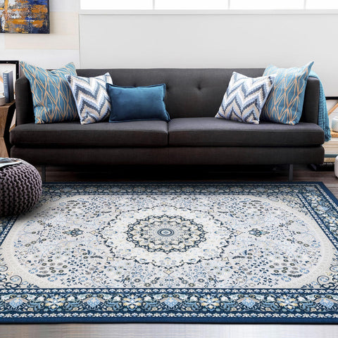 Blue Distressed Vintage Print Rug Shabby Chic Bohemian Persian boho Traditional Carpet Modern Weave- Rugaustralia