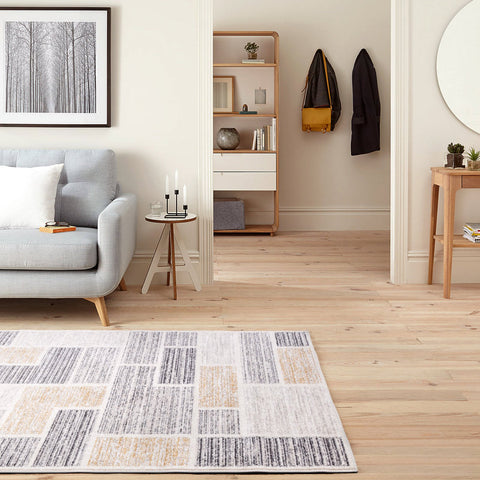 Beige Grey Yellow Modern Abtract Grid Geometric Floor Rug Modern Carpet Modern Weave- Rugaustralia