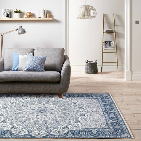 Blue Distressed Abstract Bohemian Shabby Chic Persian boho Print Floor Rug Mat Traditional Carpet Modern Weave- Rugaustralia