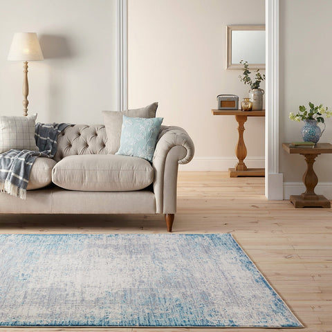Aqua Teal Beige Distressed Abstract Bohemian Shabby Chic Persian boho Printed Floor Rug Traditional Carpet Modern Weave- Rugaustralia
