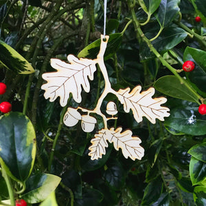 Christmas Decorations - Oak leaves with acorn - Layered Poplar Eco Plywood