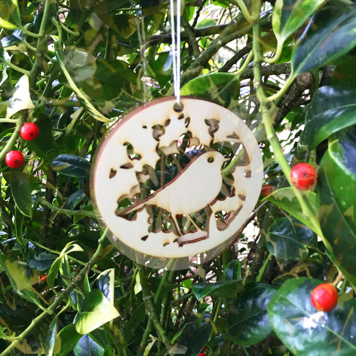 Christmas Decorations - Robin Red Breast in the hedge - Layered Poplar Eco Plywood