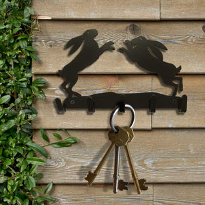Key Hooks - Boxing Hares in a field